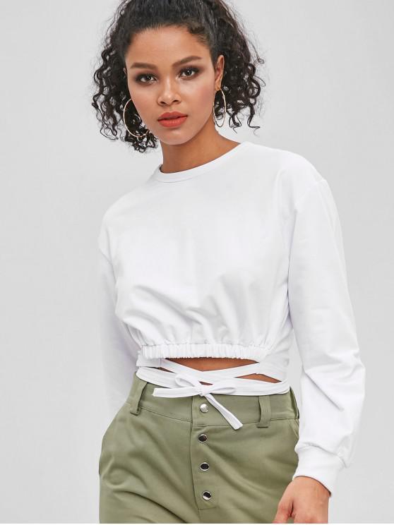 trendy Tie Detail Cropped Sweatshirt - WHITE L