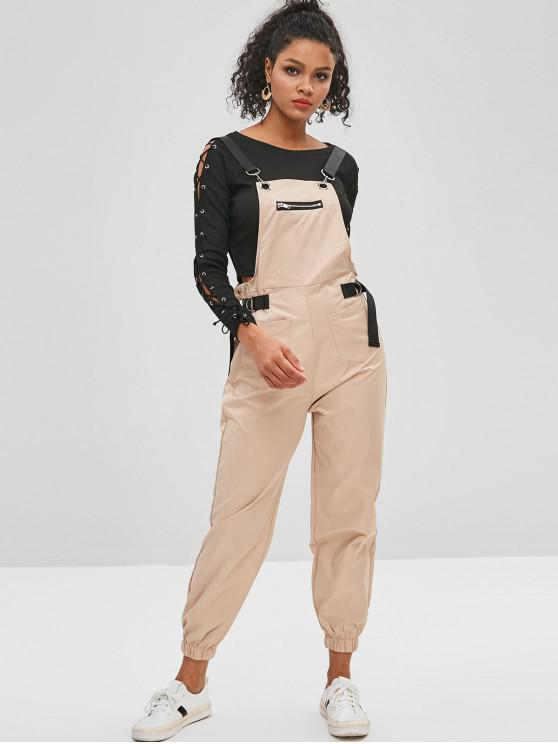 1c54d641502 28% OFF  2019 Patch Pockets Buckled Joggers Overalls In KHAKI