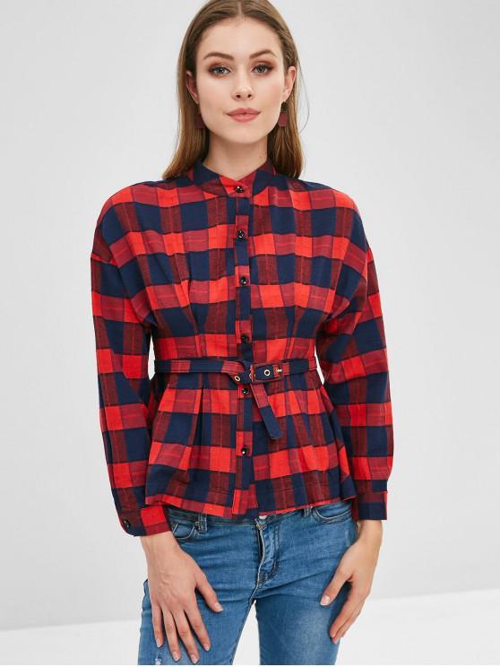 قميص منقوش بحزام - أحمر L