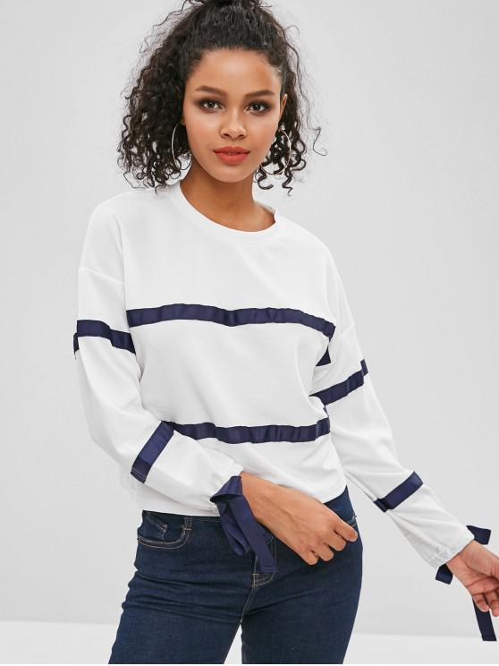 unique Ribbons Patch Long Sleeve Top - WHITE M
