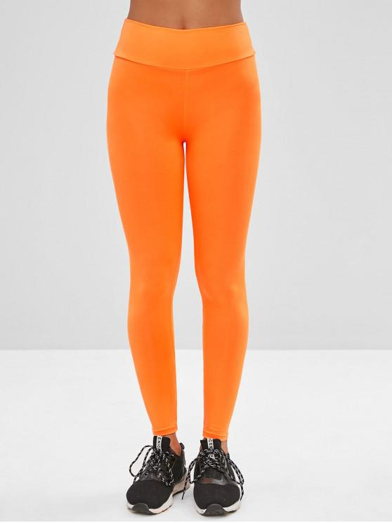 fancy Neon High Waisted Skinny Leggings - MANGO ORANGE M