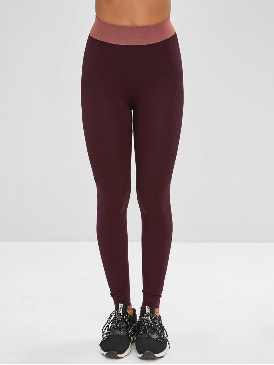 sale Color Block Ninth Skinny Leggings - RED WINE M
