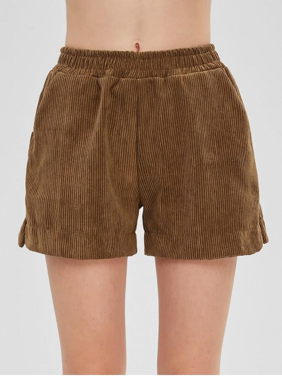 new Side Slit Pocket Corduroy Shorts - WOOD 2XL