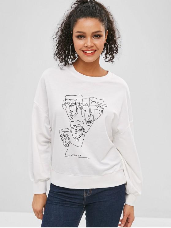 Sweat-shirt Lâche Graphique à Goutte Epaule - Blanc L