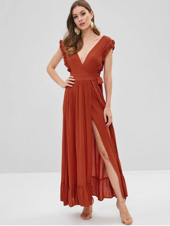 outfit Ruffles Wrap Maxi Dress - ORANGE SALMON L