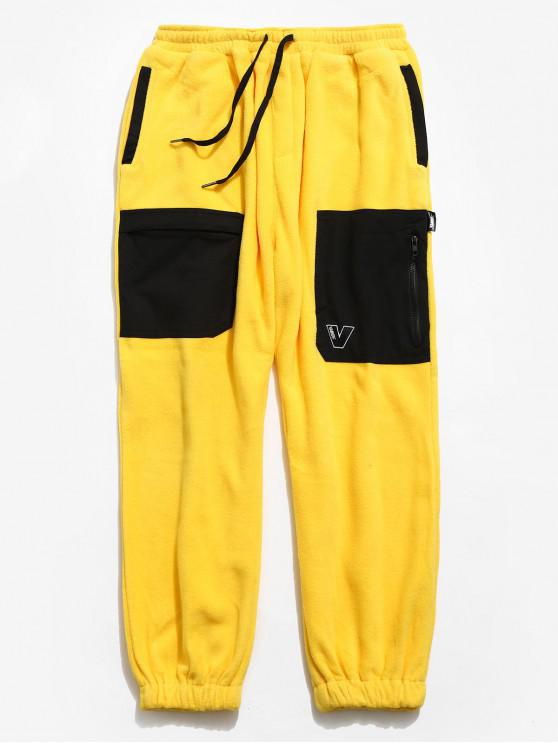 Hit Colour Drawstring Fleece Jogger Pants - Gelb L