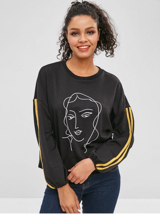 fancy Girl Print Striped Drop Shoulder Sweatshirt - BLACK S