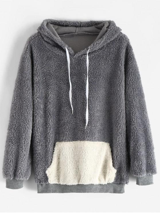 shop Front Pocket Fluffy Hoodie - BLUE GRAY XL