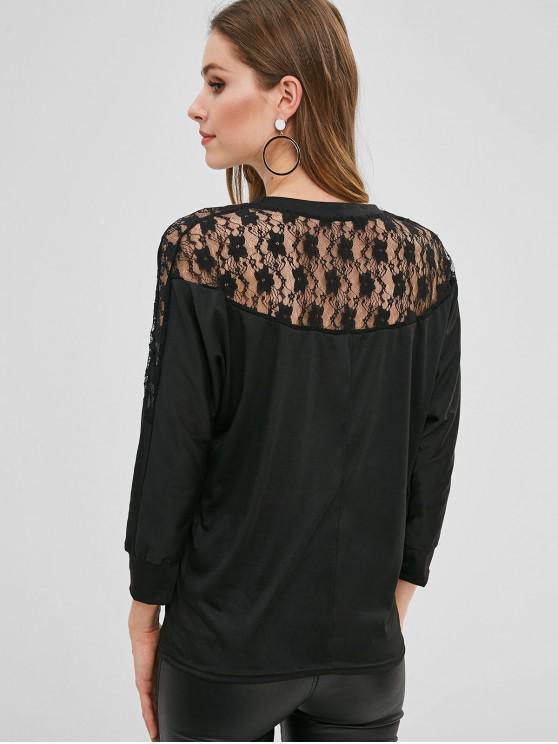 Camiseta con panel de encaje de manga de murciélago - Negro L