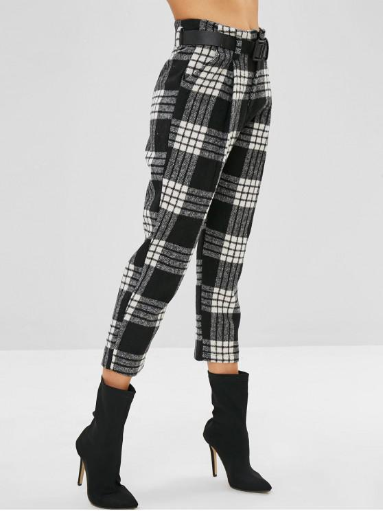 fashion Belted Plaid Zip Fly Pencil Pants - MULTI-A L