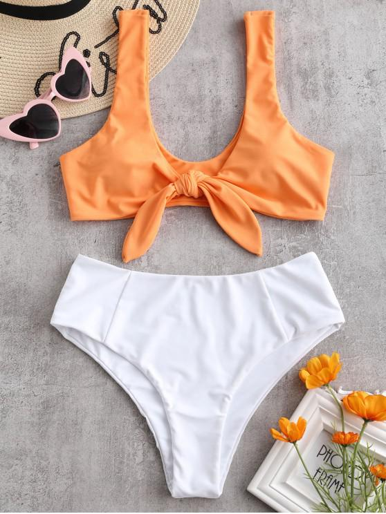 latest Two Tone Tied High Waisted Bikini Set - MANGO ORANGE L