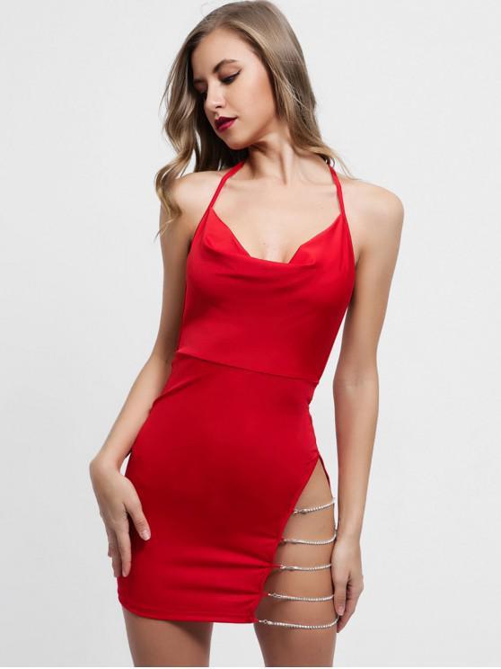 online Chains Embellished Backless Halter Dress - RUBY RED M