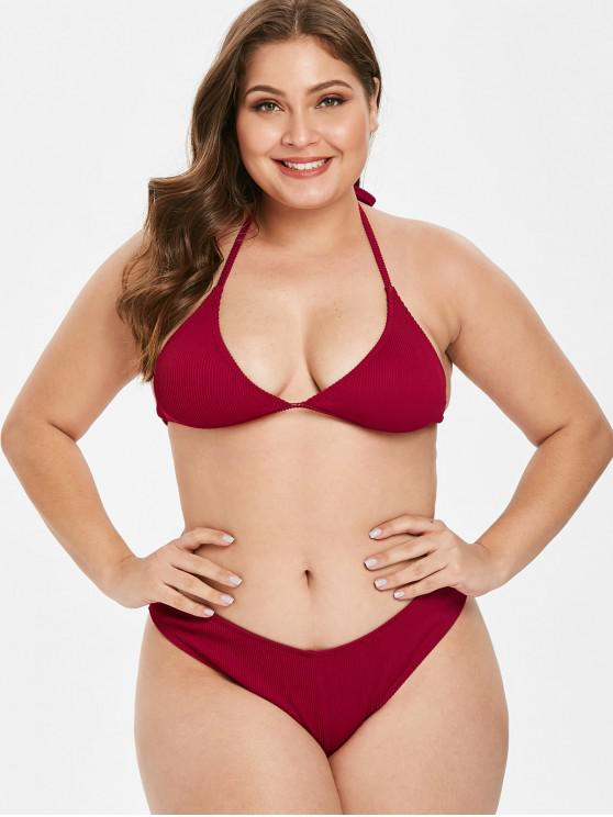 buy ZAFUL Ribbed Halter Plus Size Bikini Set - RED WINE 2X