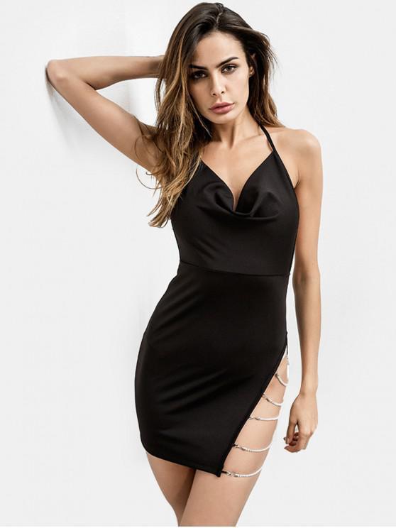 鏈條綴飾露背露背連衣裙 - 黑色 M