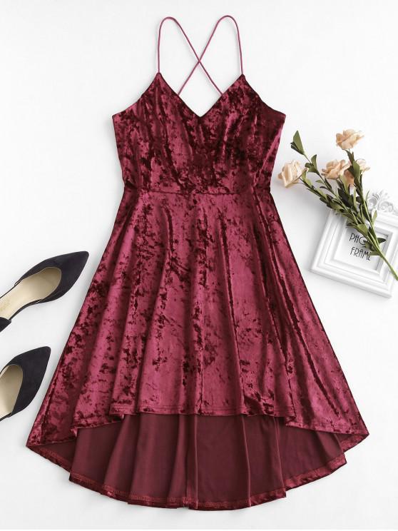 hot ZAFUL Velvet Criss Cross Cami Dress - RED WINE S