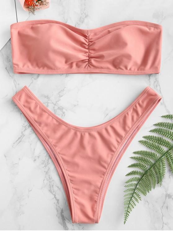 outfits ZAFUL Ruched Bandeau Bikini Set - ROSE L