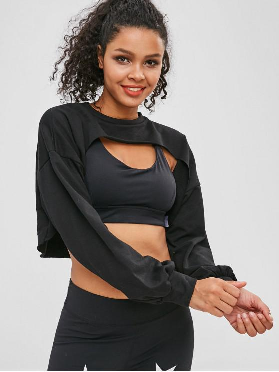 hot ZAFUL Raw Hem Crop Open Bust Sweatshirt - BLACK M