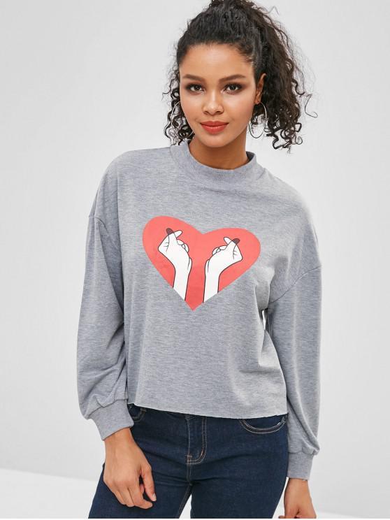 shop Heart Finger Graphic Drop Shoulder Sweatshirt - BATTLESHIP GRAY XL
