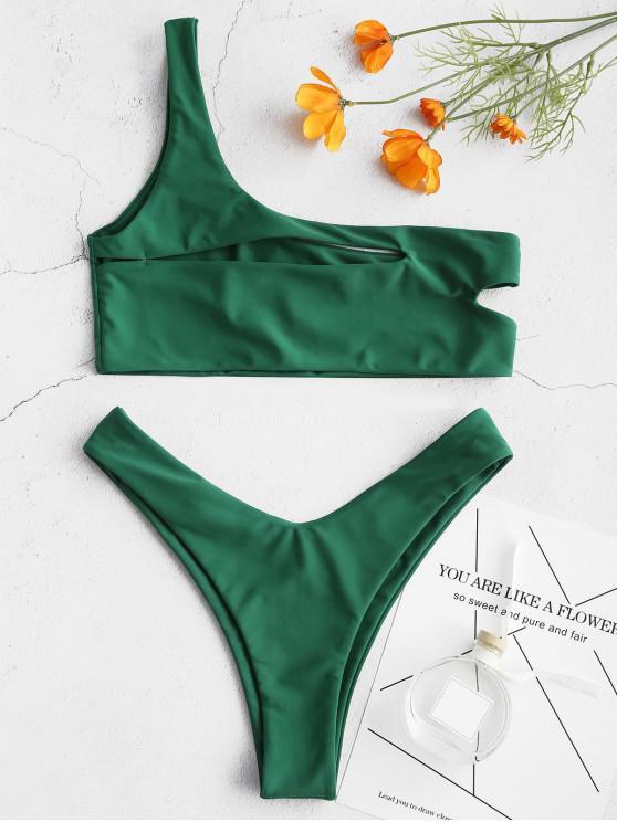 chic ZAFUL One Shoulder Cut Out Bralette Bikini Set - MEDIUM SEA GREEN L