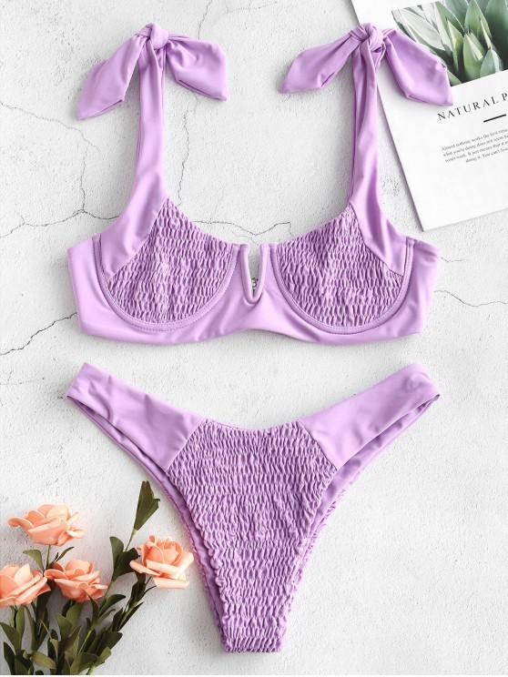 Bikini con Hombros Ajustados con Estampado de ZAFUL - Color de malva S