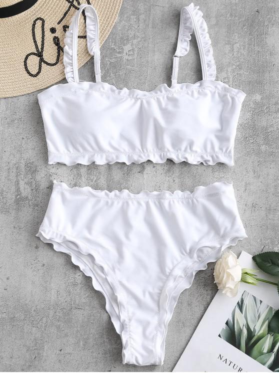 latest ZAFUL Lettuce Frilled Bandeau Bikini Set - WHITE M