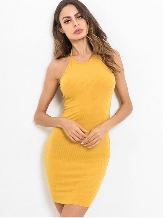 fashion Halter Neck Plain Bodycon Dress - RUBBER DUCKY YELLOW M