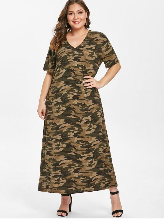 ladies Grommets Camo Plus Size T-shirt Dress - ACU CAMOUFLAGE 1X