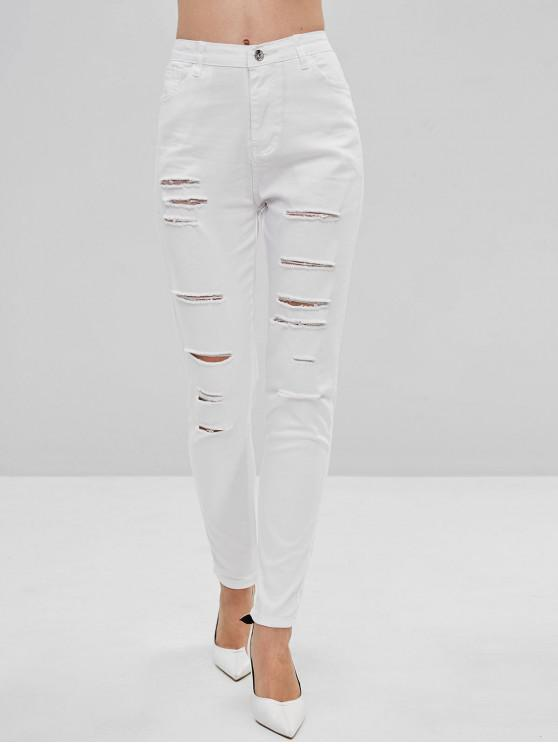 online Destroyed Skinny Pants - WHITE 2XL