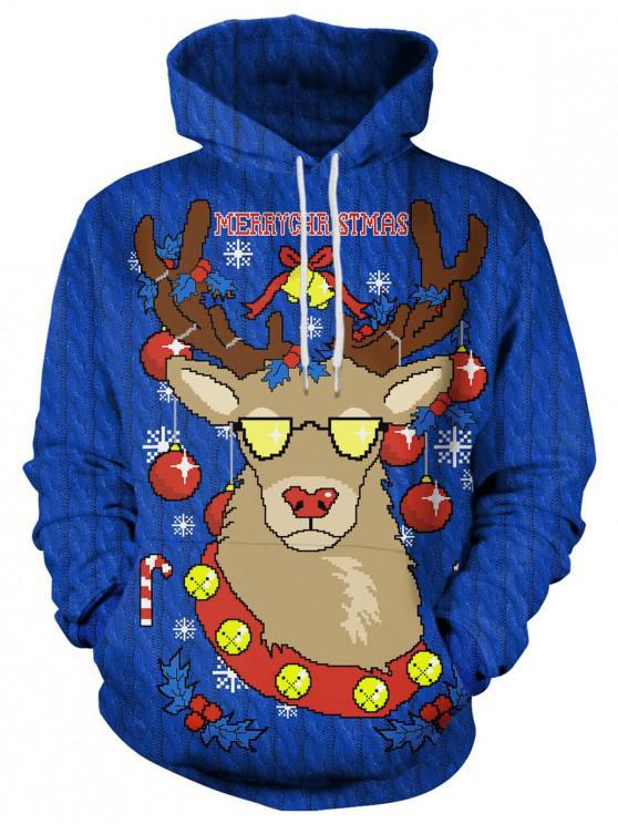 women's Drawstring Christmas Elk Print Hoodie - BLUE XL
