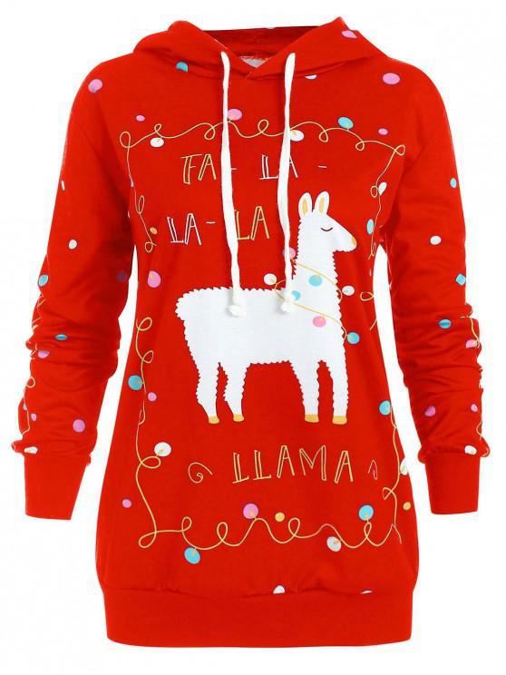Plus Size Christmas Pattern Polka Dot Hoodie - roșu L