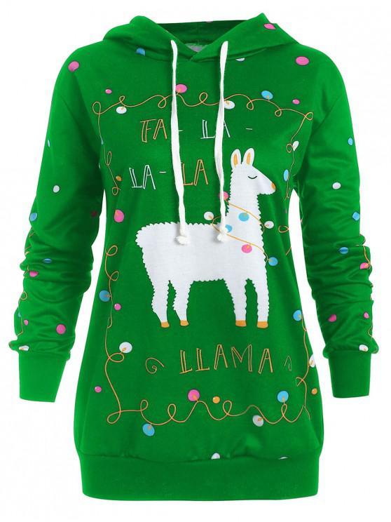 ladies Plus Size Christmas Pattern Polka Dot Hoodie - GREEN L
