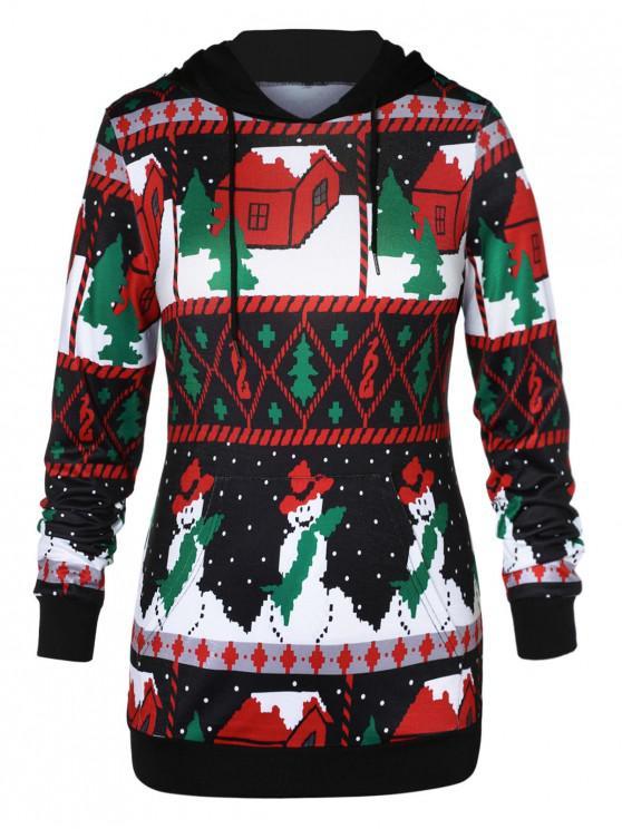 shop Plus Size Front Pocket Christmas Graphic Hoodie - MULTI-A 1X