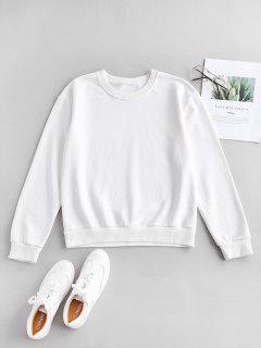 ZAFUL Pullover Drop Schulter Sport Sweatshirt - Milchweiß M