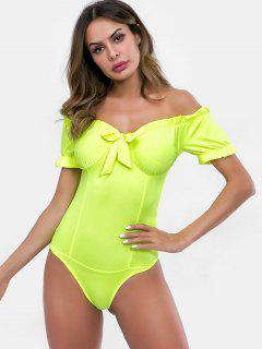 Bowknot Embellished Off Shoulder Bodysuit - Green Yellow S