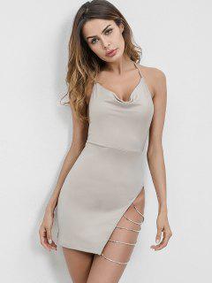 Chains Embellished Backless Halter Dress - Light Gray S