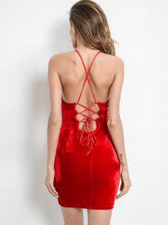 Vestido Camuflado De Terciopelo Cruzado De Criss Cross - Rojo Lava L