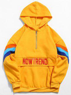 Halber Reißverschluss Brief Streifen Pullover Fleece Hoodie - Gelb M
