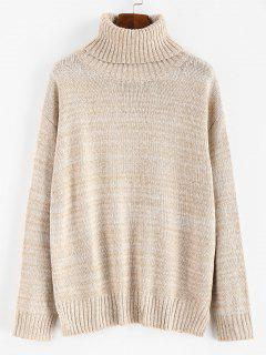 Mixed Boxy Turtleneck Sweater - Multi L