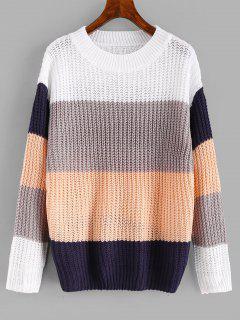 Color Block Wide Striped Sweater - Multi L