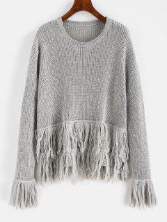 Suéter Con Flecos En El Bajo - Gris Claro L