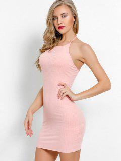 Halter Neck Plain Bodycon Dress - Light Pink S