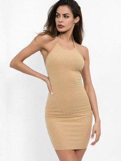 Halter Neck Plain Bodycon Dress - Light Khaki M