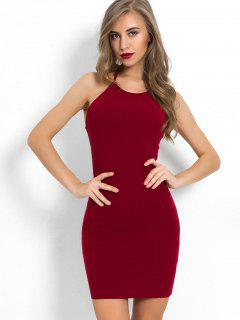 Halter Neck Plain Bodycon Dress - Red Wine L
