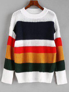Pull Décontracté Multicolore à Rayure - Multi Xl