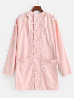 Manteau Coupe-Vent à Capuche Avec Bouton-Pression - Rose Léger  L