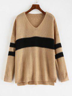 Contrast Stripe V Neck Baggy Sweater - Khaki L
