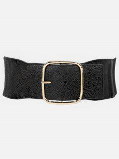 Retro Square Buckle PU Leather Elastic Belt - Black