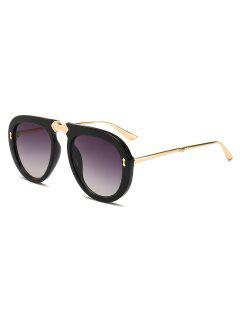 Retro Alloy Frame Holiday Sunglasses - Black