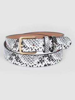 Vintage Snake Pattern PU Leather Waist Belt - White