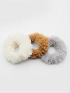 3 Pcs Cute Faux Fur Ponytail Hair Band - Multi-a